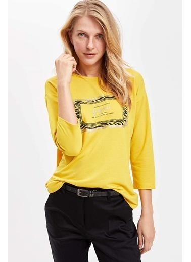 DeFacto Baskılı Uzun Kollu T-shirt Sarı